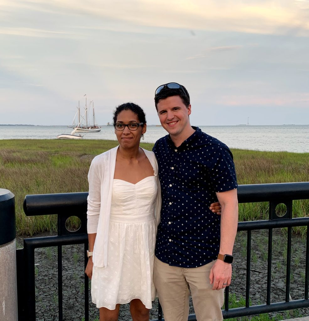 Philip with his wife, Brandi at the shore