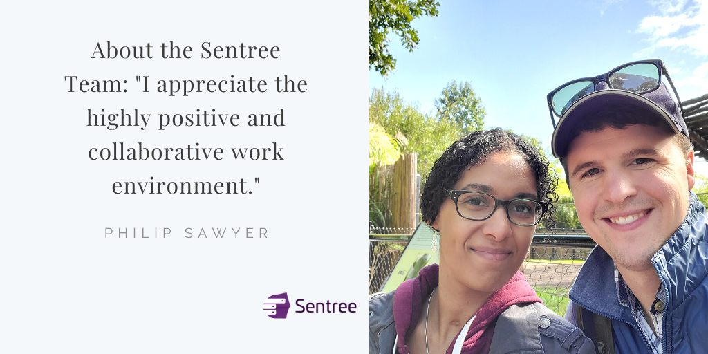 """Philip with his wife, Brandi. """"I appreciate the highly positive and collaborative work environment."""" at Sentree."""