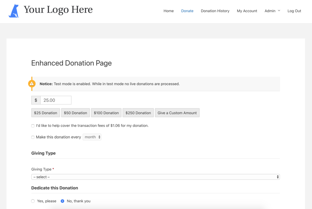 enhanced fundraising page screen shot
